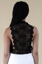 Load image into Gallery viewer, After Dark sleeveless lace bodysuit in red white or black with tie on either side - Sahvant