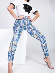 Bright Lites Big City pants leggings with silver chain link print and shades of blue and yellow - Sahvant