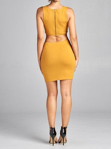 Josephine yellow/mustard or beige crop top with attached skirt - Sahvant