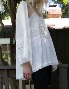 Vintage Vineyards woven cotton embroidered top with bell sleeves and mesh shoulder detail - Sahvant