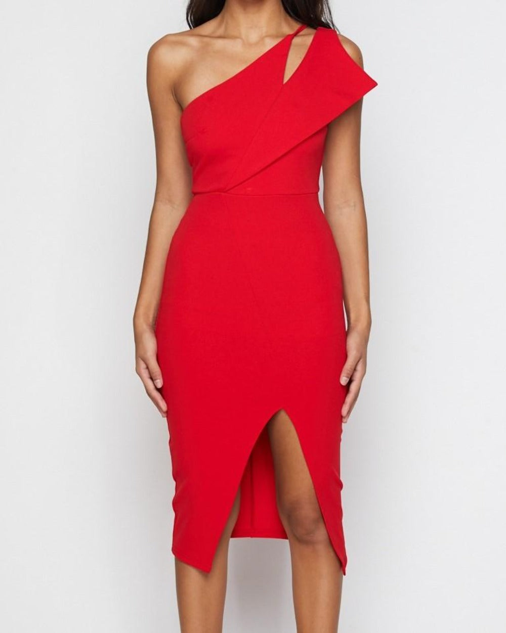 Mi Amore red bodycon one strap midi dress with split to inner thigh - Sahvant