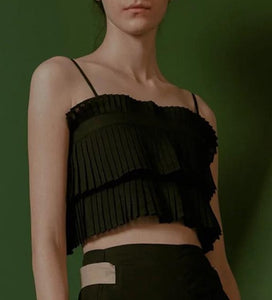 Oh So Pressed pleated black layered top with adjustable straps and open back