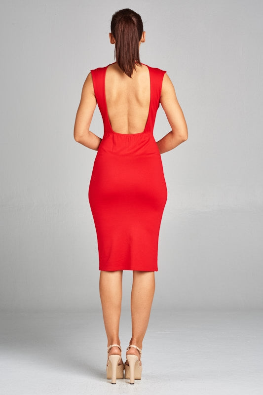 Scarlett She Dares red sleeveless bodycon dress with plunging neckline and open back - Sahvant