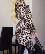 Load image into Gallery viewer, Wilamina animal print leopard waterfall jacket - Sahvant