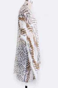 Camilla animal print kimono cover up in shades of cream beige brown - Sahvant