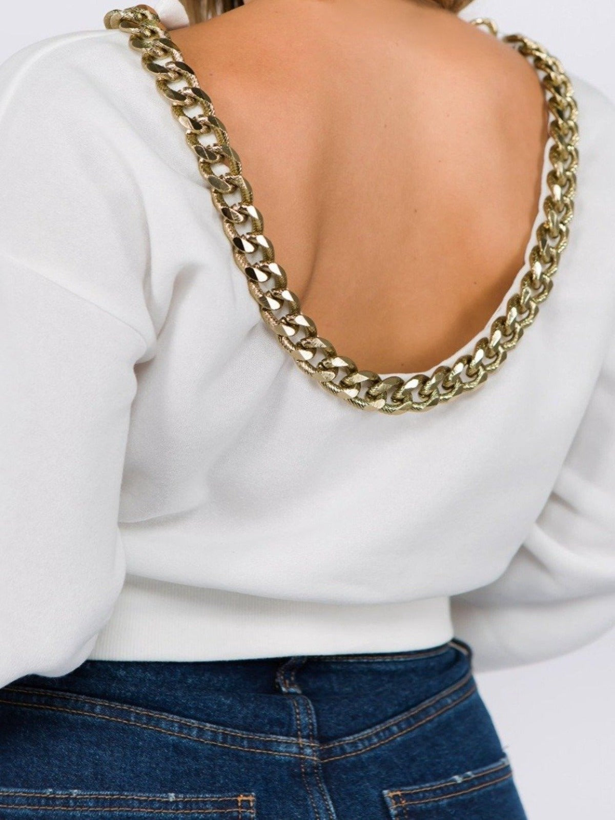 80s Baby! cropped open back white oversized sweater with thick gold chain - Sahvant