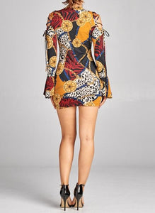 Doll'd Up animal and chain print burgundy or olive mini dress with exposed shoulders