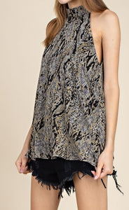 Woodland Views snake print halter neck sleeveless top - Sahvant