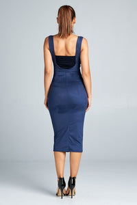 Valley Girl navy blue midi skirt with shoulder straps - Sahvant