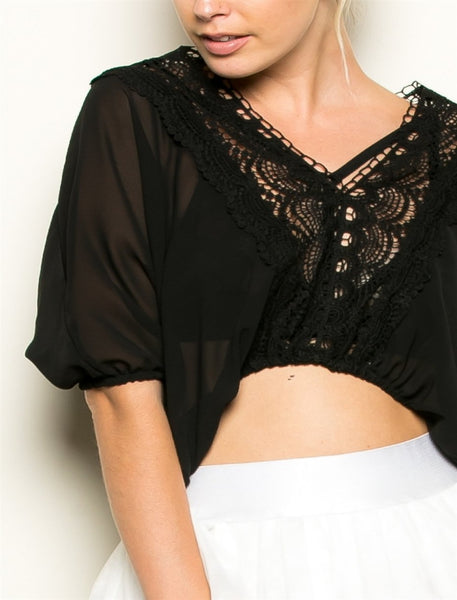 Sofia sheer v neck short sleeve crochet black or white crop top - Sahvant