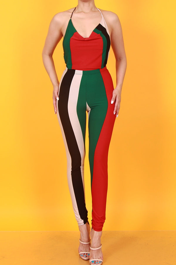 Vibes halter neck striped black white red and green set