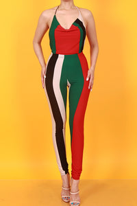 Vibes halter neck striped black white red and green set - Sahvant