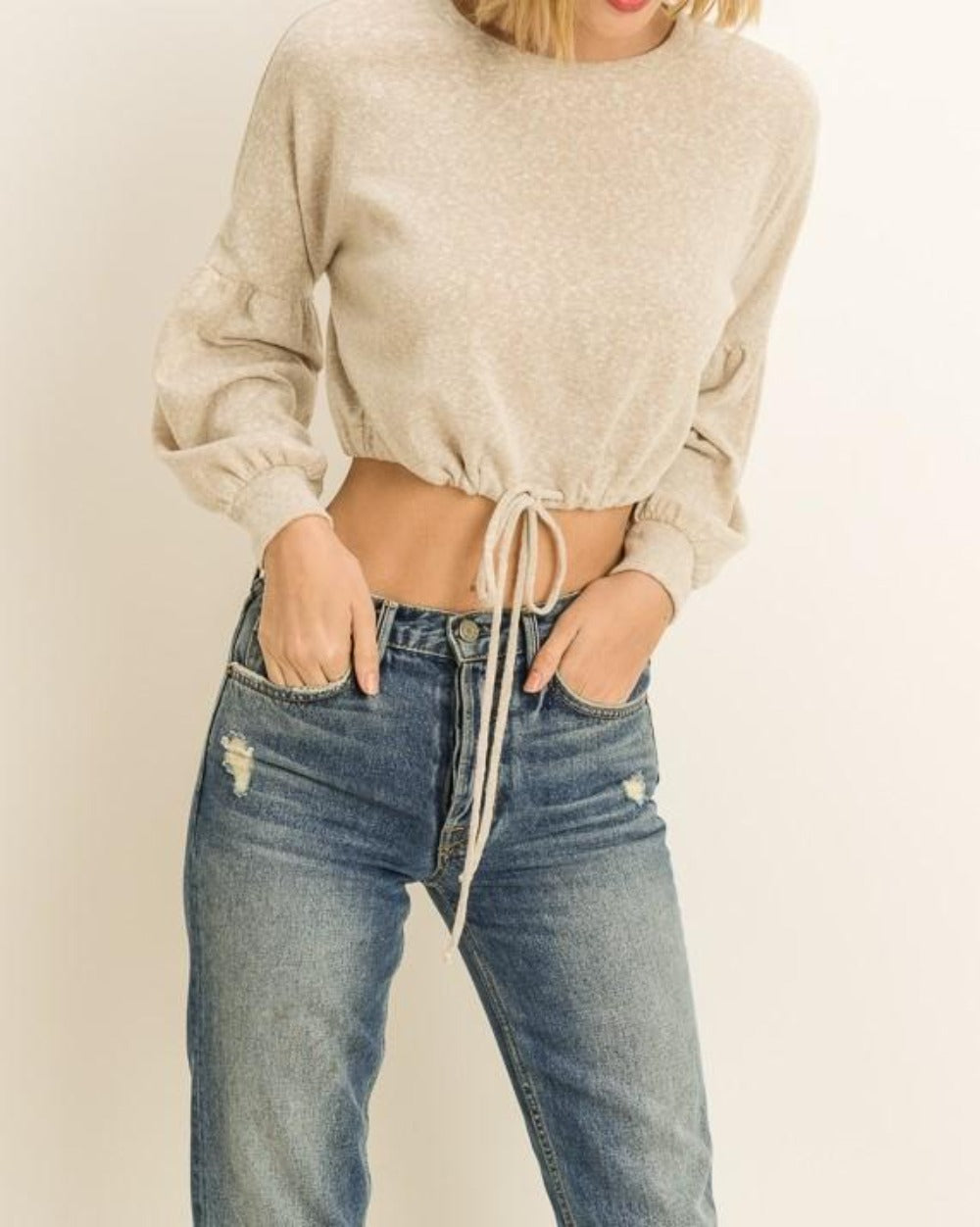Ex-Girlfriend beige cream long sleeve drawstring cropped sweater - Sahvant
