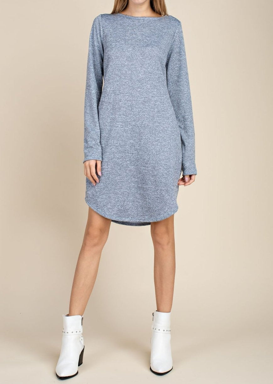 Delia's Moon long sleeve casual knit dress in blue or blush/beige - Sahvant