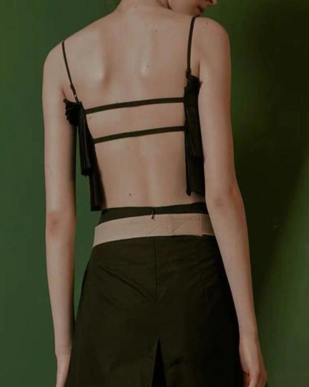 Oh So Pressed pleated black layered top with adjustable straps and open back - Sahvant