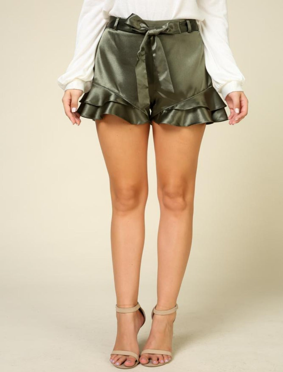 Darby So Flossy high waist olive/green satin ruffle hem shorts with self tie - Sahvant