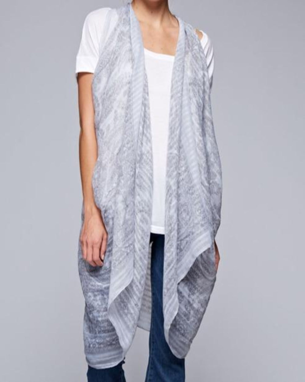 Silver Shadows sheer silver gray patterned lightweight scarf kimono - Sahvant