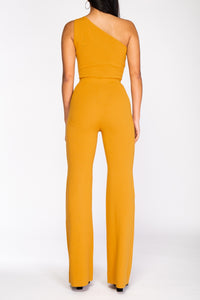 Business n Pleasure one shoulder keyhole yellow mustard knit jumpsuit