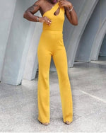 Load image into Gallery viewer, Business n Pleasure one shoulder keyhole yellow mustard knit jumpsuit
