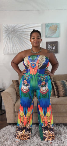 Calypso multi color strapless jumpsuit - Sahvant