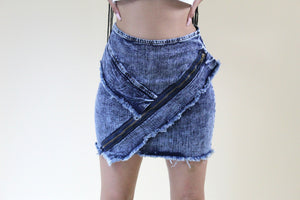 Felicity denim skirt with faux zippers and raw hem - Sahvant