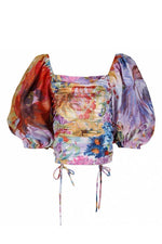 Load image into Gallery viewer, Griselda multi-color crop top with balloon short sleeves - Sahvant