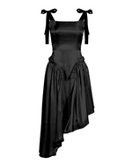 Load image into Gallery viewer, Sweet Siren open back asymmetrical black or creme ruffled dress - Sahvant