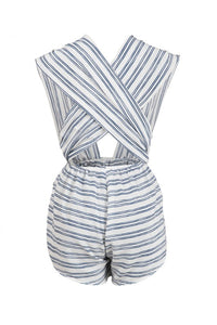 Ibiza white multi way romper with blue stripes - Sahvant