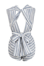 Load image into Gallery viewer, Ibiza white multi way romper with blue stripes - Sahvant