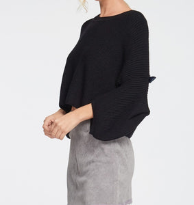 Mrs Jones thick black oversized sweater with peek-a-boo sleeve and bow detail at elbow - Sahvant
