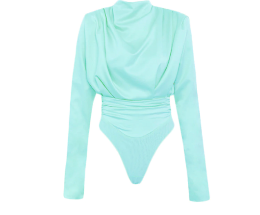 The Bourgeoisie long sleeve high neck open back bodysuit in black, mint green or lilac/lavender - Sahvant