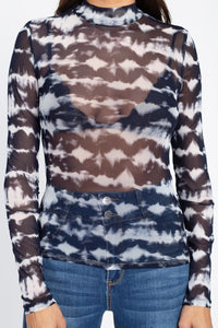 D'Lilah sheer long sleeve mock neck top with white abstract cloud-like print - Sahvant