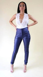 Load image into Gallery viewer, Rockstar Tings navy blue high waist faux leather pants