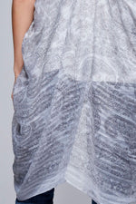 Load image into Gallery viewer, Charlatan sheer silver gray patterned lightweight rectangular scarf - Sahvant