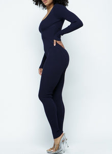 Stallion Not a Pony long sleeve navy blue or olive/green knit catsuit/jumpsuit - Sahvant