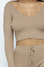 Load image into Gallery viewer, Tanna long sleeve off the shoulder knit legging set in black or tan/brown - Sahvant