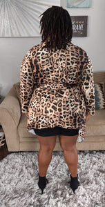 Wilamina animal print leopard waterfall jacket - Sahvant