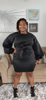Load image into Gallery viewer, Winter Brunch black long sleeve skirt set - Sahvant