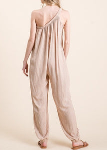Sutton one shoulder beige/tan/taupe jumpsuit - Sahvant