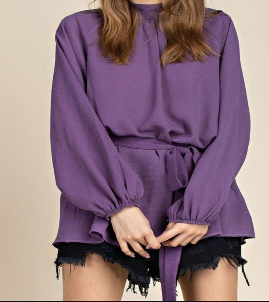3ree Threads long sleeve purple or black blouse with removable belt at waist - Sahvant