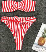 Load image into Gallery viewer, Candy Girl red and white striped high waist bikini - Sahvant