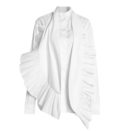 Viktoria long sleeve pleated blouse in white or black - Sahvant