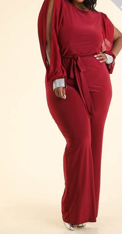 Wine and Dine burgundy jumpsuit - Sahvant