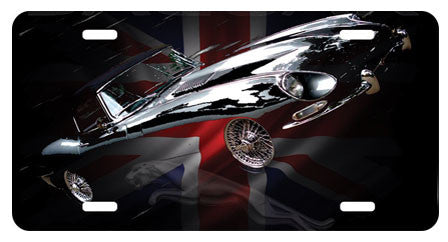 Airbrushed Aluminum Jaguar XKE E Type License Plate