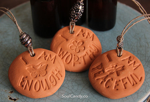 Essential Oil Diffuser Stone Trio ~ I Am Enough * I Am Worthy * I Am Peaceful