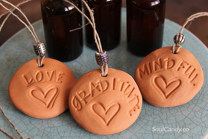 Essential Oil Diffuser Stone Trio ~ Love * Gratitude * Mindful
