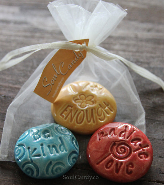 Trio of Soul Candy Co. Ceramic Pocketstones