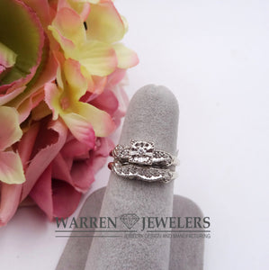 Vintage 1/10ctw Diamond Estate 2-piece wedding Rings 14K White Gold