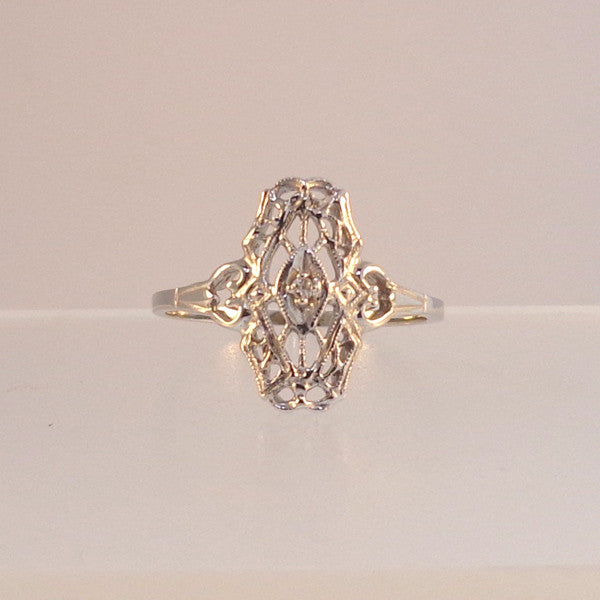 Vintage .02ct Old cut Diamond Filigree Ladies 14K White Gold Ring