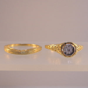 Ladies Estate Styled Wedding Set - Engagement Ring - Warren Jewelers